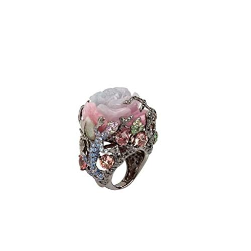Barhalk Retro Rose Ring Gecko Design Personality Jewelry Rhinestone Inlaied Fashion Jewelries for Mother's Day Wedding Engagement Banquet Anniversary Cocktail Party Celebration