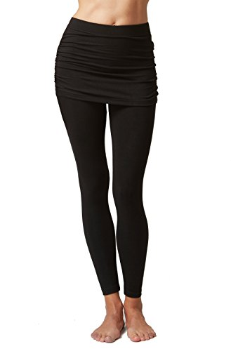 Women's Gathered Skirt Yoga Tights Leggings With Over Skirt Black-M-