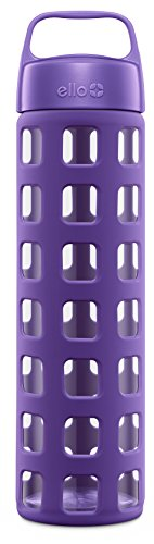 (Ello Pure BPA-Free Glass Water Bottle with Lid, 20 oz, Grape Squares)