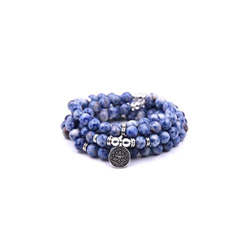 VBTY Beaded Stretch Bracelet, Stone Beads,18 Colors Women Amazonite 108 Mala Beads Bracelets Lotus Charm Yogi Bracelet Necklace Fashion Jewelry Blue (Livestrong Key)