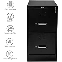 "Henlus Home Office 26.5"" Deep 2-Drawer High Side Commercial Vertical File Cabinet Black"