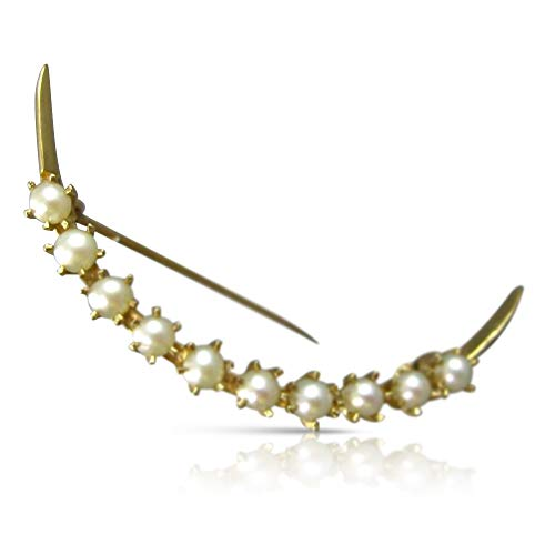 Milano Jewelers Large 4mm AAA South SEA Pearl 14KT Yellow Gold 3D Moon Brooch PIN #26421