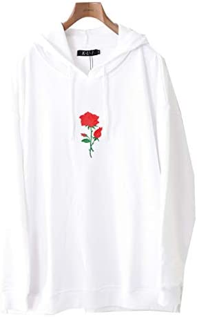 バラ パーカー 薔薇 薔薇刺繍 ビッグパーカー 大きいサイズ ワンポイント ビッグシルエット プルオーバー プルパーカー かぶり