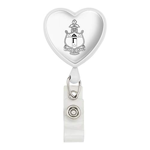 (Delta Gamma Sorority Crest Officially Licensed Heart Lanyard Retractable Reel Badge ID Card Holder -)