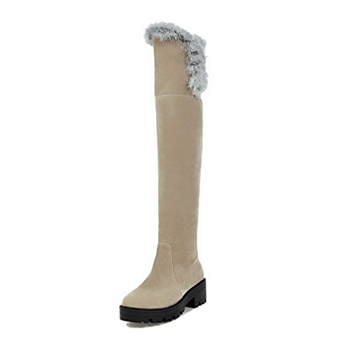Low AgooLar Beige Round Heels Pull Closed Women's Solid Boots on Toe Frosted gxxqwAZ7