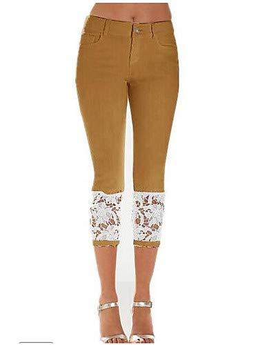 YFLTZ Basic Pantalon Jeans de Unie Femme Brown Couleur Dentelle pour w4BRwr5q