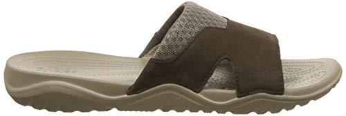 uomo open Slide da Leather marrone Crocs espresso toe Swiftwater sandali khaki 23g IA6qFxOw