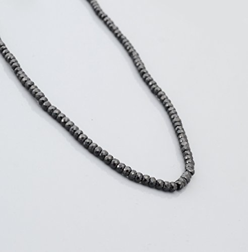 Natural Black Spinel Roundel Beads Necklace Strand with Sterling Silver findings 16