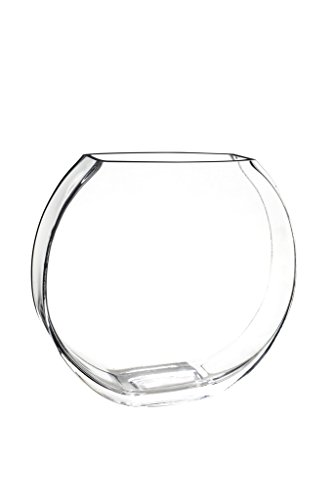 Glass Vase Decorative Centerpiece for Home or Wedding Flat Fishbowl Shape, 10