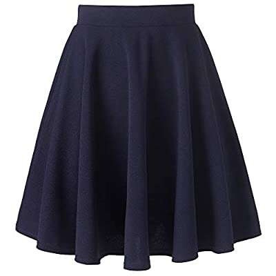 AUHEGN Women's Basic Versatile Stretchy Flared A Line Casual Skater Midi Skirt