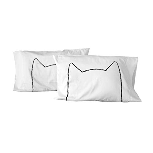 (Handmade Cat Ears Bed pillowcases, gift for cat lover, mothers day, cat mom, cat lover gift, made in usa, bedding, pillow cases, couples gift)