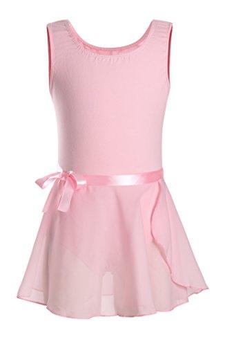 DANSHOW Girls' Classic Tank Top Skirted Leotard for Kids Gymnastics Training Dance Ballet Unitard (2-4, Pink)