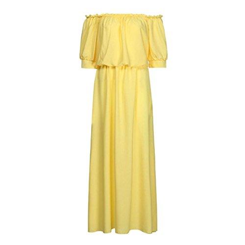 L madre mujer ropa de casual Nueva mujeres largo Mujeres verano Vestido casual Amarillo familia vestido LMMVP vestidos hija Rosado 7qn0ZRxdq