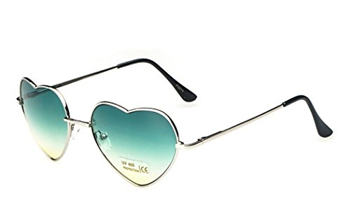 Flowertree Women's S014 Heart Aviator 55mm Sunglasses ()