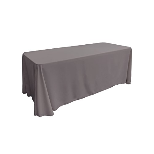 LA Linen Polyester Poplin Rectangular Tablecloth, 90 by 132-Inch, Grey Dark (Tablecloth Linen Solid)