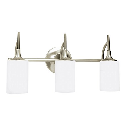 Sea Gull Lighting 44954-962 Stirling Three-Light Bath or Wall Light Fixture with Cased Opal Etched Glass Shades, Brushed Nickel ()