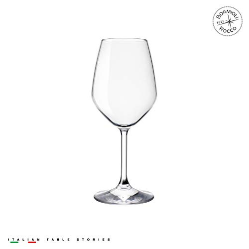 (Bormioli Rocco 14.75 oz White Wine Glasses (Set Of 4): Crystal Clear Star Glass, Laser Cut Rim For Wine Tasting, Lead-Free Cups, Elegant Party Drinking Glassware, Dishwasher Safe, Restaurant Quality)