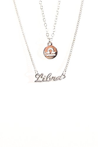 The Classic Sign Horoscope Gold Filled Zodiac Symbol Fashion Necklace (Libra_Silver)