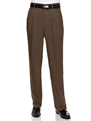 RGM Men's Pleated Dress Pants Work To Weekend - Comfortable and Lightweight Brown 38 (Mens Double Pleated Pants)