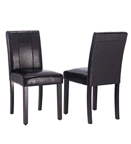 Per-Home Dining Chairs Set of 2 Solid Wood Leatherette Parson Chairs(Black)