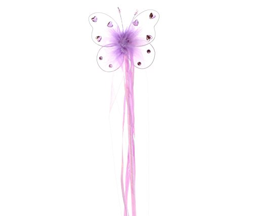 Wonderland Cutie Adult Costumes (Mozlly Purple Butterfly Heart Rhinestone 19.5 inch Wand with Ribbons - Costume Accessory, Ballerina, Dress Up (Set of 4))