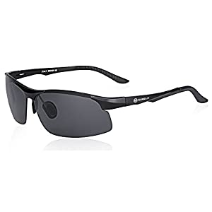 SUNGAIT Driving Sunglasses for Men HD Polarized Lens Fit Fishing Cycling (Black Frame Gray Lens)