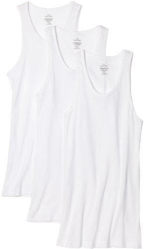 Calvin Klein Men's 3 Pack Basic Tank Top, White, Medium (Calvin Klein A Shirt)