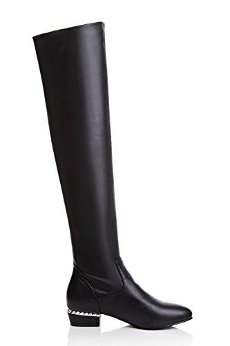 Knee Heels Closed PU Kitten Boots Allhqfashion Pull Black Above The on Toe Round Women's UwnFqP