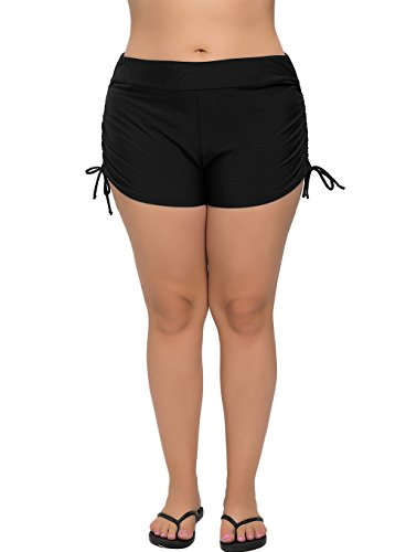 ATTRACO Womens Plus Size Swim Shorts Solid Swim Bottom Beach Swim Board Shorts