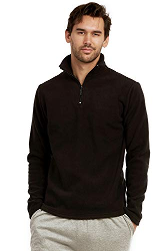 ET TU Men's Quarter Zip Polar Fleece Pullover Sweatshirt (L, Black)