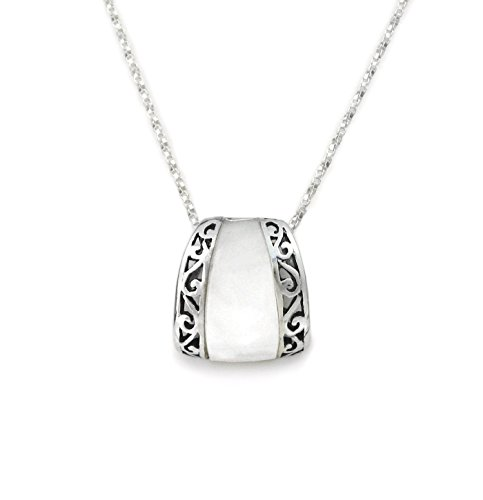 (Sterling Silver Scroll Bands Mother of Pearl Slider Pendant Necklace, 18 Inches)