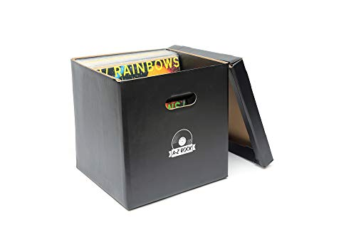Big Fudge Record Cube! Vinyl Record Storage Holder - Set of 5 Boxes for Beloved Vinyls with Blank Labels to Keep Track of Albums Inside - Keeps Up to 350 - Fudge Case