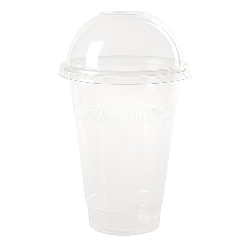 Dart Conex Plastic CLEAR Cups with Dome Lids for Iced Coffee Bubble Boba Tea Smoothie, 16 oz./100 (Dart Conex Clear Cup)