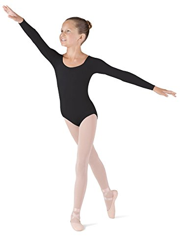 (Bloch Dance Girls Meglio Microlux Long Sleeve Leotard, Black,)