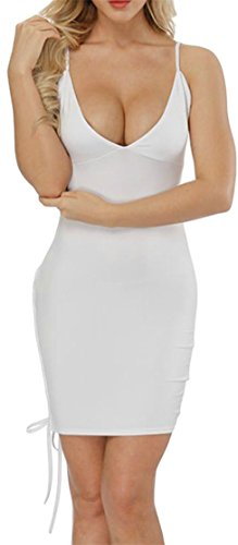 Spaghetti Bodycon Strap V Cromoncent Dresses Fashion Womens White Neck Bandage C5qwwt4