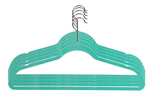 Velvet Jade - Velvet Hangers with Accessory Bar - For Shirts, Dresses, and Delicate Clothing - Non-Slip Velvety Smooth Texture - Slim Space Saving Design- sea foam green- 50 Pack - 17.5 x 0.2 x 9.5 Inches
