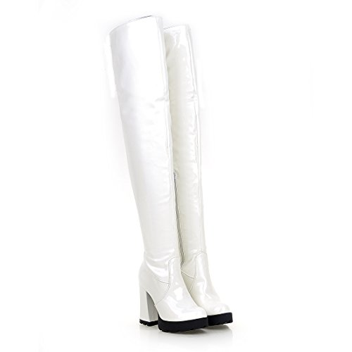 Uh Fourrure Femmes Plateforme Vernis Haut Au Bottes L'hiver Blanc Mi Chaud Chaussures Talons Lacet Avec mollet Bloc Pour Et SSw8qCr