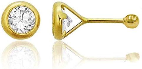Tioneer 14K Gold Bezel Earrings ~ Solid Yellow Gold Minimalist Round Princess Heart CZ Cubic Zirconia Screw Back Stud Earrings 3-6mm For Women