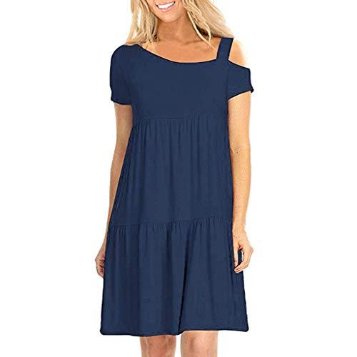 Beautyfine Women Sexy T-Shirt Dresses,Solid Asymmetrical Diagonal Collar Strapless Ruffled Short Sleeve Mini Dress Navy