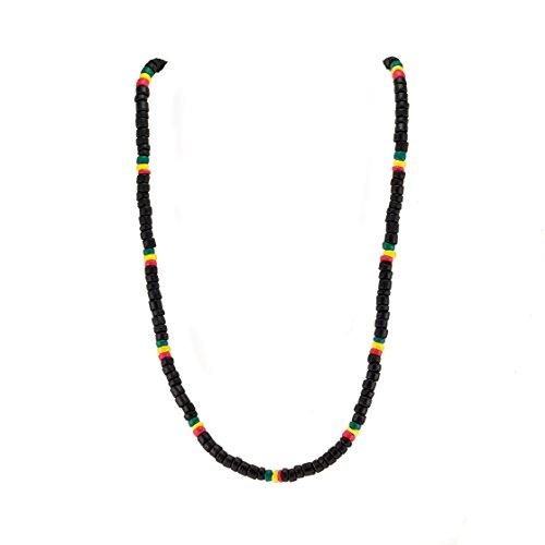 nut Wood Beaded Necklace (Black) ()