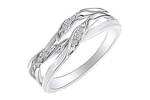 14K Solid White Gold White Natural Diamond Accents Crossover Ring Multi Row Anniversary Band Ring Size-9
