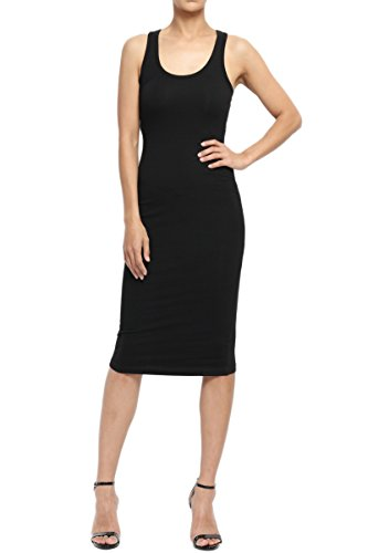 TheMogan Women's Sleeveless Scoop Neck Midi Tank Dress Black 2XL (Tank Dress Plus Size)