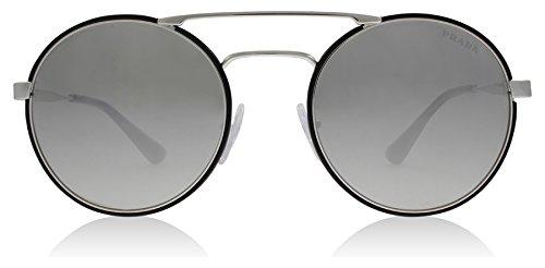 Prada Women's 0PR 51SS Silver/Black/Light Grey/Silver Mirror - Sunglasses Round Prada