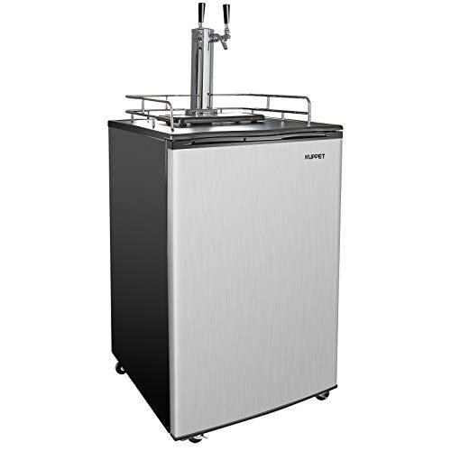 KUPPET Kegerator& Draft Beer Dispenser, Beer Kegerator, Keg Beer Cooler for Party, Compressor Cooling CO2 Regulator Casters, Dual Tap, 6.0 Cu.ft (Stainless Steel)
