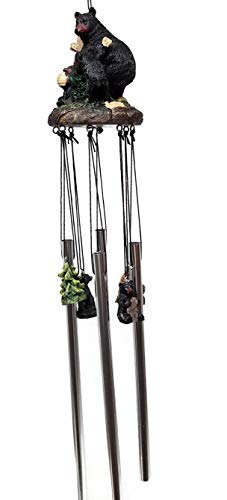 Outdoor Collection Black Bear and Cubs Wind Chimes (Style A)
