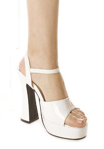 Ellie Chaussures Femmes Chaussures 5 Pouces Chunky Talon Sandale Blanc