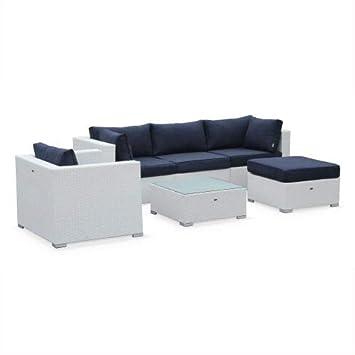 Salon de Jardin en résine tressée - Caligari - Blanc, Coussins Bleu Marine  - 5 Places - 1 Fauteuil, 1 Fauteuil sans accoudoir, 1 Pouf, 2 fauteuils ...