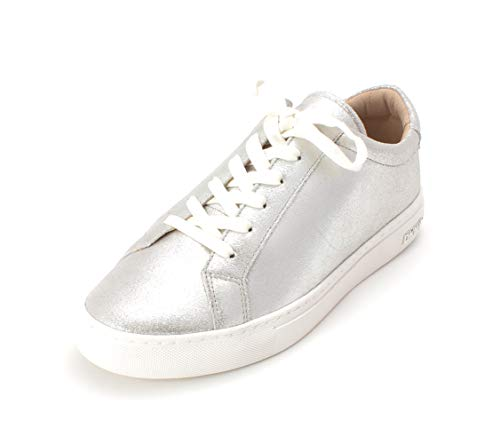 DKNY Womens Court Leather Low Top Lace Up Fashion Sneakers, Silver, Size 9.5