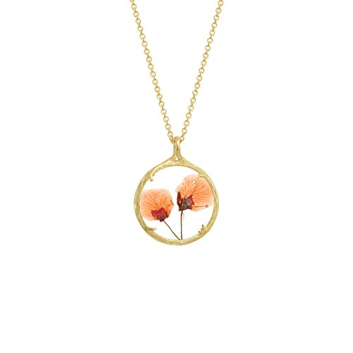 Botanical Pendant Necklace with Delicate Dried Flowers in Glass Charm (Orange Blossoms, (Verbena Blossom)