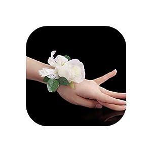 Artificial Silk Flower Bride Wrist Corsage Women Girl Wedding Hand Flower Party Decoration 114